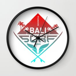 Bali Surfing Surf Indonesia Wall Clock