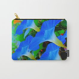 BLUE MORNING GLORY FLOWERS ABSTRACT ART Carry-All Pouch