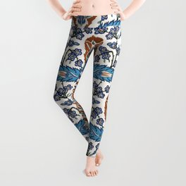 Iznik Tile Pattern Blue White Brown Leggings
