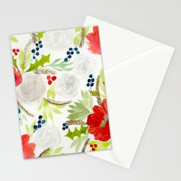 Winter Watercolor Florals Red & White Stationery Cards