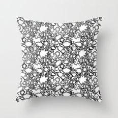 Lila's Flowers Repeat Black and White Throw Pillow