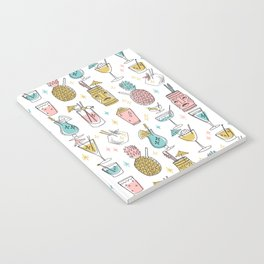 Tropical cocktails summer drinks pineapple tiki bar pattern by andrea lauren Notebook
