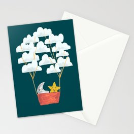 Hot cloud baloon - moon and star Stationery Cards