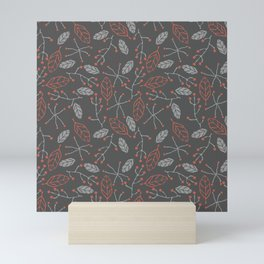 Autumn Fall Pattern Dark Gray Leaves Mini Art Print