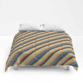 Indigo Orange Sky Blue Inclined Stripe Comforters