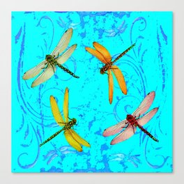 DRAGONFLY WORLD IN BLUE ABSTRACT ART DESIGN Canvas Print