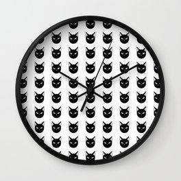 Angry Kitty Pattern Wall Clock