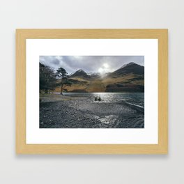 Snow capped mountains on Buttermere. Cumbria, UK. Framed Art Print