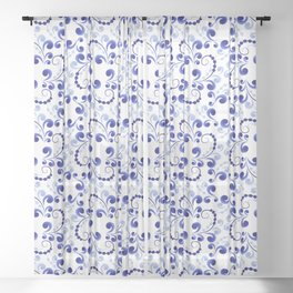 Floral pattern in blue Sheer Curtain