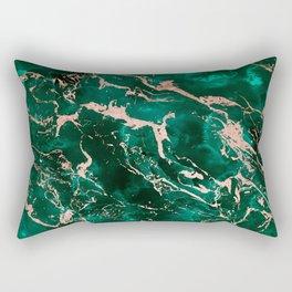 Modern rose gold marble green emerald watercolor pattern Rectangular Pillow
