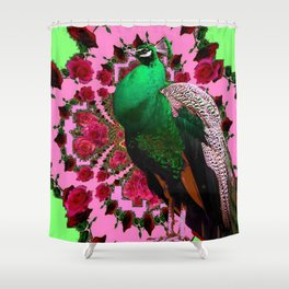 STATELY GREEN PEACOCK PINK-RED ROSES ABSTRACT Shower Curtain