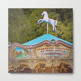 Vintage Paris Carousel Metal Print
