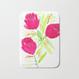 Watercolor tulips Bath Mat