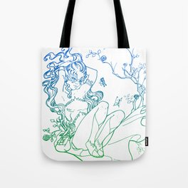 The Masked Fairy - greenish blue version - A masked fairy girl surrounded by butterflies and roses Tote Bag