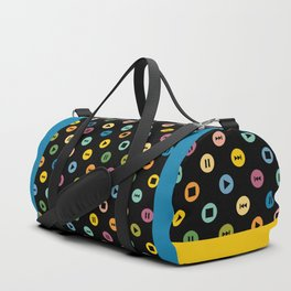 Music Player Icons Polka Dots (Multicolor on Black) Duffle Bag