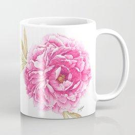 Pink Peony Watercolor Illustration Coffee Mug