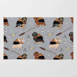 dachshund witch wizard magic wiener dog gifts Rug