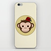 fez iPhone & iPod Skins featuring Monkey with Fez by JaggedGenius