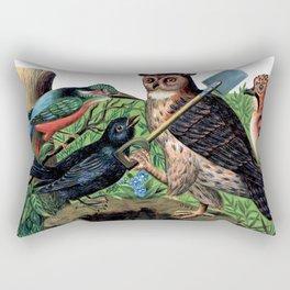 Vintage Owl with Shovel Rectangular Pillow