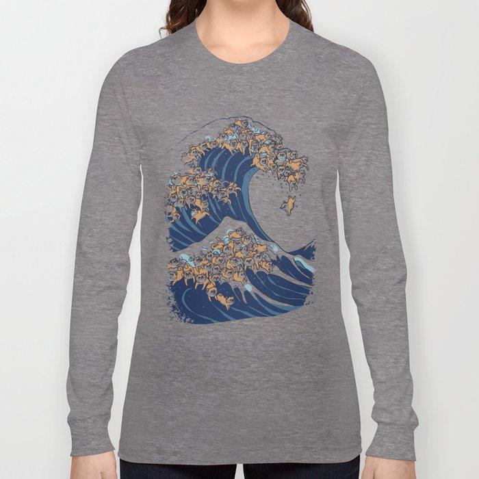 The Great Wave of Shiba Inu Long Sleeve T-shirt