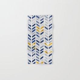 Herringbone chevron pattern.Indigo faux gold acrylic canvas Hand & Bath Towel