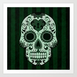 Día de los Muertos in Emerald Green Art Print