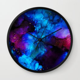 The Sorcerer's Shore - Blue + Purple Abstract Wall Clock