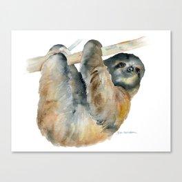 Sloth Watercolor Painting Canvas Print