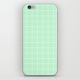 Mint Green with White Grid iPhone Skin