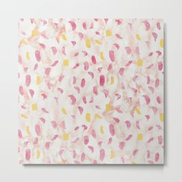 Abstract painting pattern with modern colors navy gold pink Metal Print