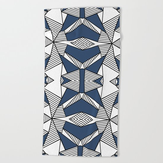 Triangle Tribal #2 Navy Beach Towel