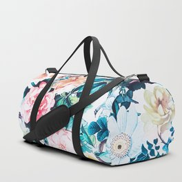 Modern blush pink green watercolor roses floral Duffle Bag