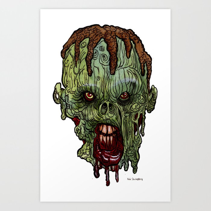 heads of the living dead zombies demon dreads zombie art print - Zombie Pictures To Print