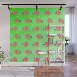 Pigs in clover Wall Mural
