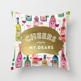 Cheers My Dears – Gold Throw Pillow