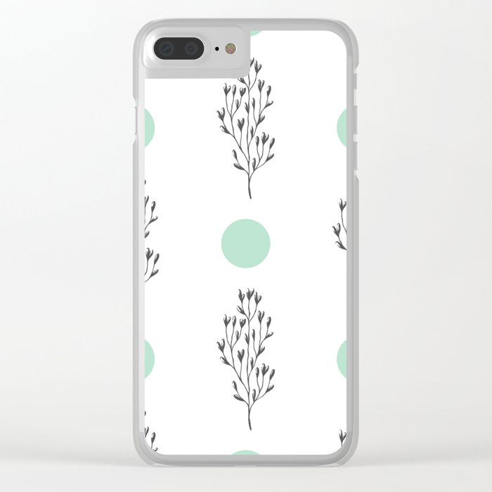 Black brunches & green dots pattern Clear iPhone Case