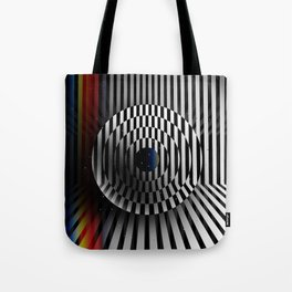 Glitch circles in perspective with multicolored light bar. Op art. Tote Bag
