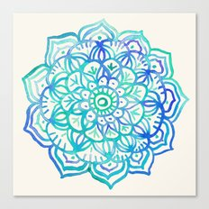 Watercolor Medallion in Ocean Colors Canvas Print