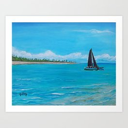 Black Sails Catamaran Art Print