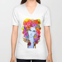 florence V-neck T-shirts featuring Florence by D.U.R.A