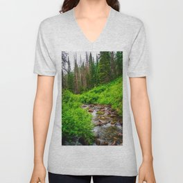Wasatch Mountains Forest Creek Print Unisex V-Neck