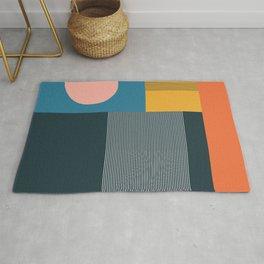 untitled 2 - blocks, lines & circle Rug