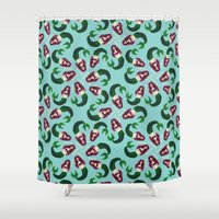 mermaids Shower Curtains featuring Mermaids by Meanz Chan