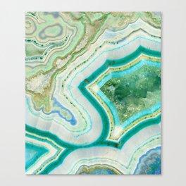 Sea Spray Crystal Agate Slice Canvas Print