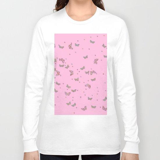 Animal - Animals Butterflies Butterfly diamonds and glitter effect on pink Long Sleeve T-shirt