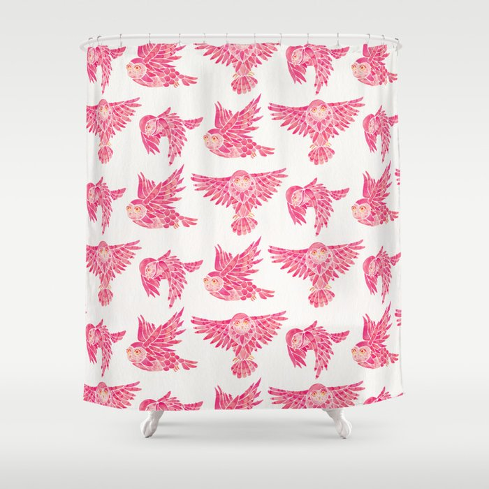 Owls in Flight – Pink Palette Shower Curtain