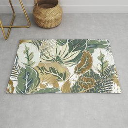 Wild Tropical Prints, Green and Gold Rug