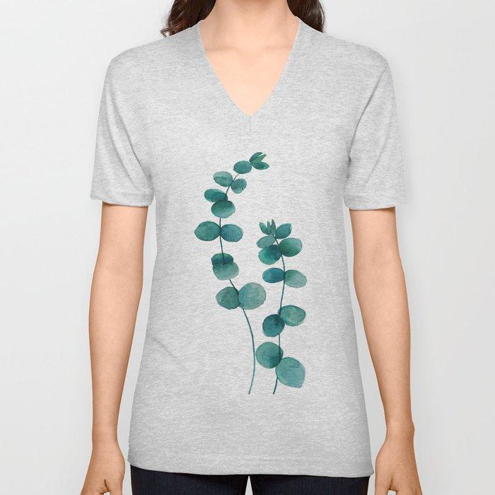 green eucalyptus watercolor Unisex V-Neck