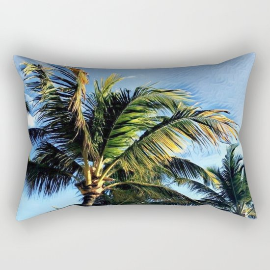 Palm Tree in the Wind (Hawaii Sky) Rectangular Pillow