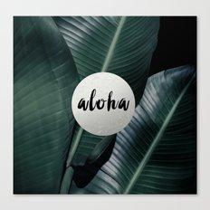 Aloha silver - banana leaf Canvas Print